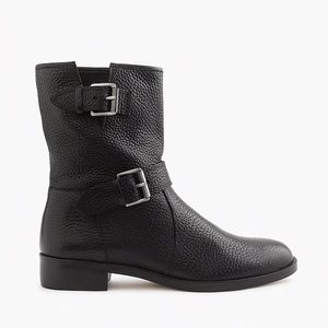 J. Crew Black Pebbled Leather Buckle Moto Boots